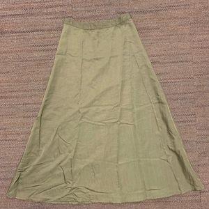 Anthropologie satin-style long skirt in dark sage